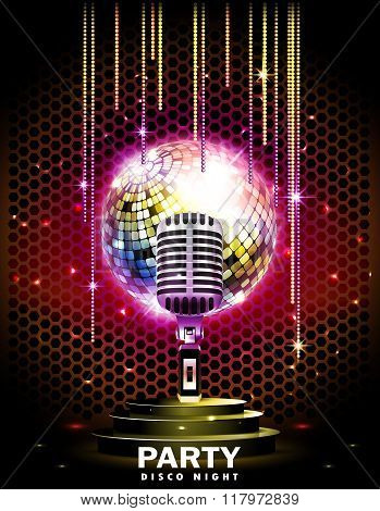 Stage with podium,retro microphone and disco ball.