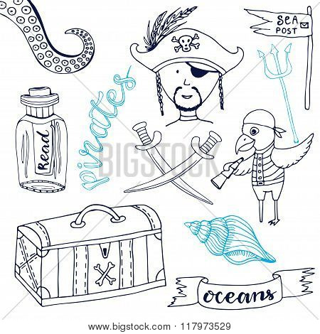 Pirate set with cute parrot. Hand drawn cartoon collection. Doodle vector illustrations.