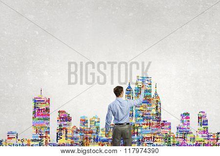 Architect presenting his design