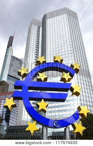 The Famous Big Euro Sign At The European Central Bank.
