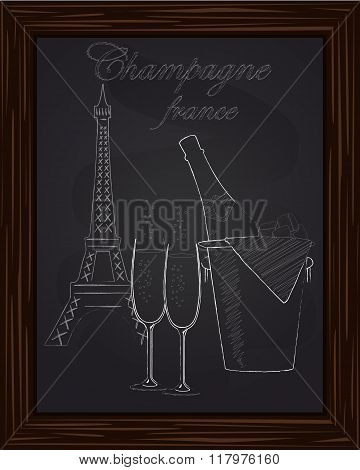 Beautiful Bucket With Ice And A Bottle Of Champagne And Two Glasses On The Background Eifel Tower