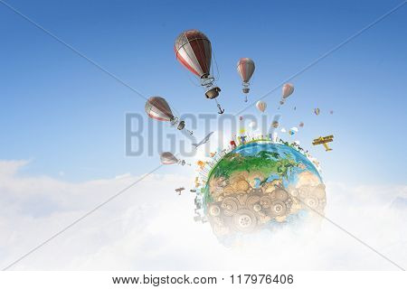 Air balloons in summer sky