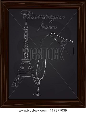 A Nice Glass And A Bottle Of Champagne On The Background Eifel Tower