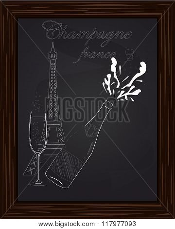 Open A Bottle Of Champagne With Splashes On The Background Eifel Tower