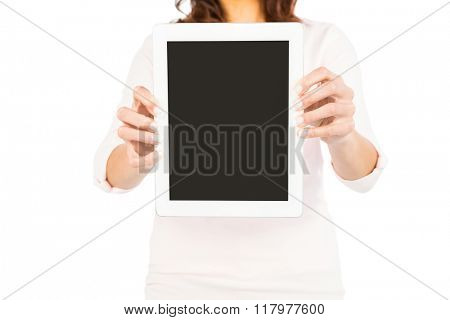 Woman showing tablet black screen on white background
