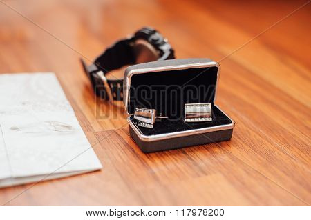 Groom Set Clothes. Wedding Rings, Shoes, Cufflinks And Bow Tie