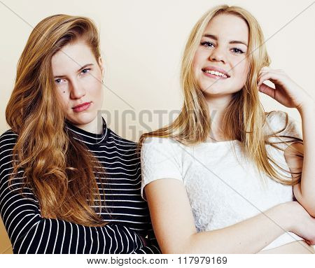 lifestyle and people concept: Fashion portrait of two stylish sexy girls best friends, over white ba