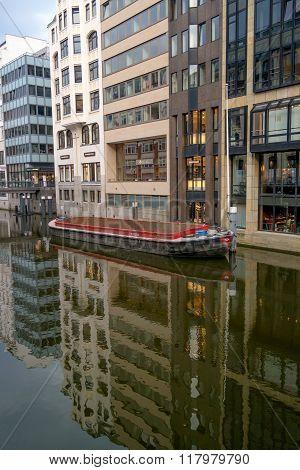Hamburg, Germany - May 16, 2013: Canal and bridge in Hamburg. Germany.