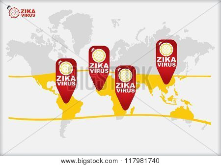 Zika Virus, Countries Or Areas At Risk.
