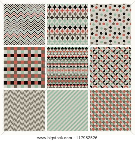 Seamless retro geometric hipster background set.