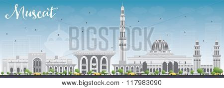 Muscat Skyline with Gray Buildings and Blue Sky. Vector illustration. Business Travel and Tourism Concept with Historic Buildings. Image for Presentation Banner Placard and Web Site.