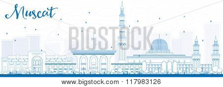 Outline Muscat Skyline with Blue Buildings. Vector illustration. Business Travel and Tourism Concept with Historic Buildings. Image for Presentation Banner Placard and Web Site.