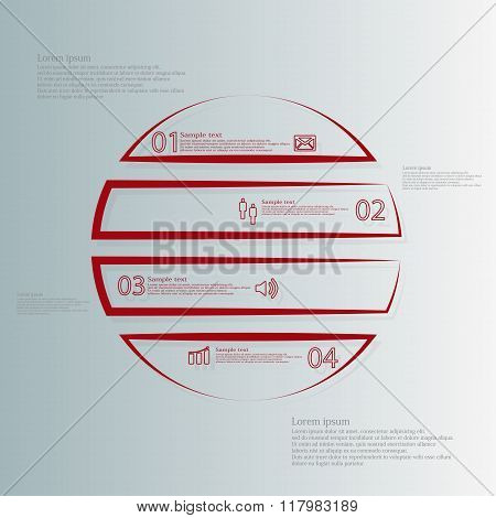 Circle Infographic Template Horizontaly Divided To Four Outline Red Parts