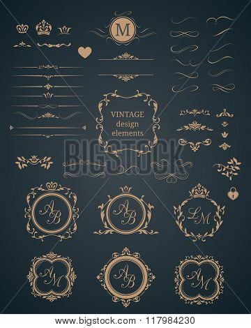 Vintage set of decorative elements