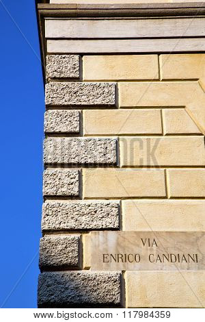Milan  In Italy Old Church Concrete Wall  Plate Sky