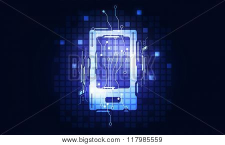 Mobile phone glowing icon