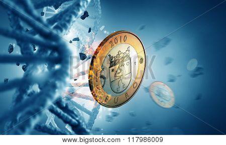 DNA molecule and euro coin