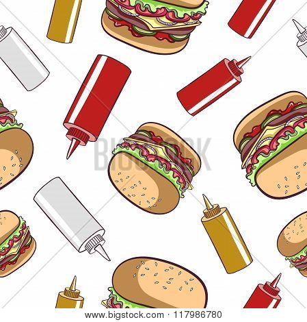 Seamless Pattern Fast Food Hamburger