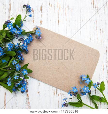Forget-me-nots Flowers With Card
