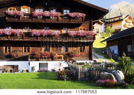Details of a traditional farm house in South Tirol, Italy, Europe