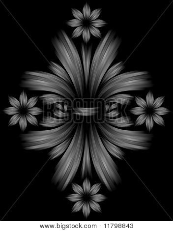 Abstract Floral Gray Background On Black