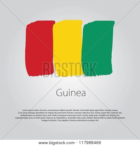 Guinea Flag With Colored Hand Drawn Lines In Vector Format