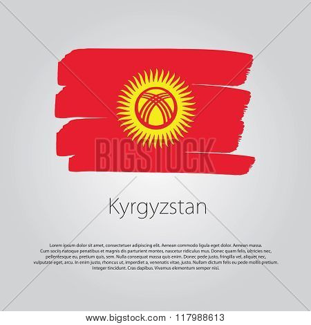Kyrgyzstan Flag With Colored Hand Drawn Lines In Vector Format