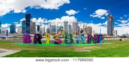 BRISBANE, AUSTRALIA - FEB 12 2016: Brisbane sign returned to South Bank, originally created for G20 Cultural Celebrations.