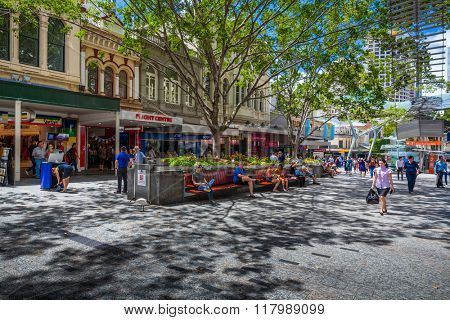 BRISBANE, AUSTRALIA - FEBRUARY 12 2016: The Queen Street Mall is a pedestrian mall located on Queen Street in the centre of Brisbane, Queensland, Australia