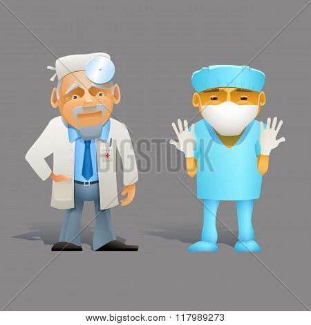 Set Of Different Character Doctor. Cartoon Medical Professional