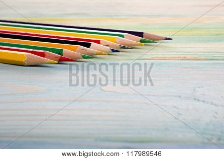 Artistic, artist, art. Used artist paintbrushes on wood background