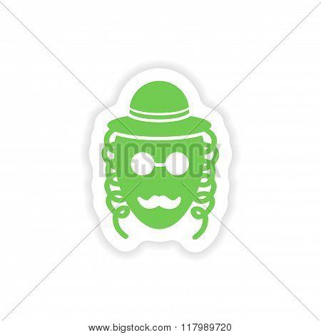 paper sticker on white background Jewish man