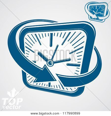 3D Vector Square Wall Clock With Arrow Around, Simple Version Included. Time Idea Perspective Classi