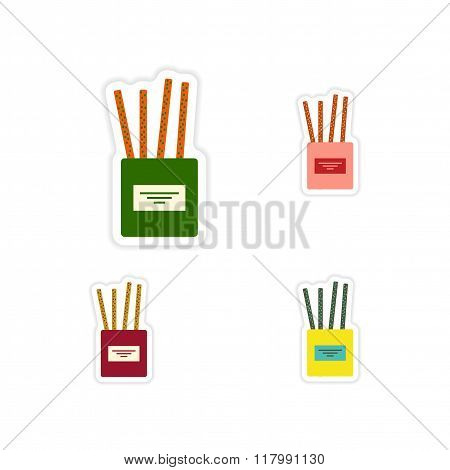 Set of paper stickers on a white background cheese sticks