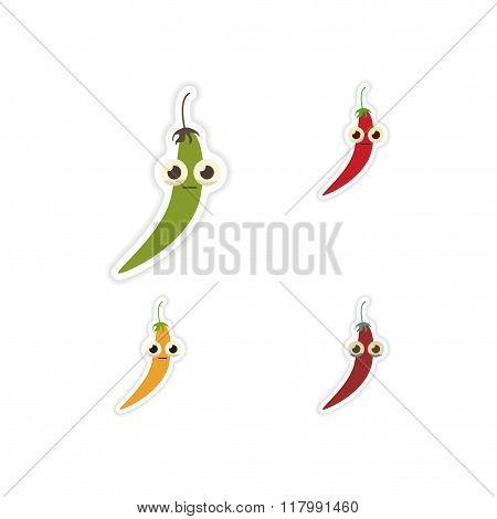 Set of paper stickers on a white background chilli pepper
