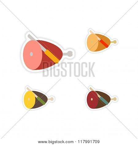 Set of paper stickers on white background ham and knife