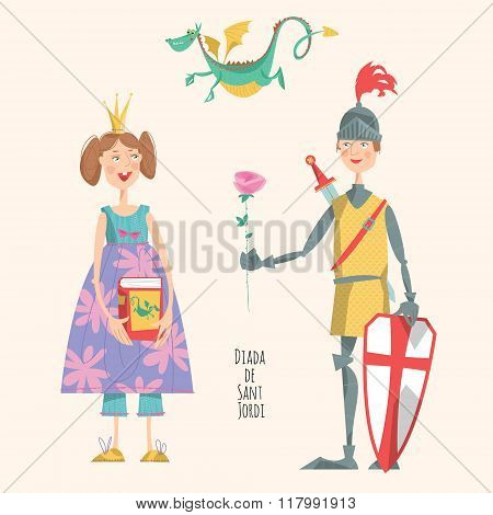 Princess With A Book, Knight With A Rose, And A Dragon. Diada De Sant Jordi (the Saint George's Day)