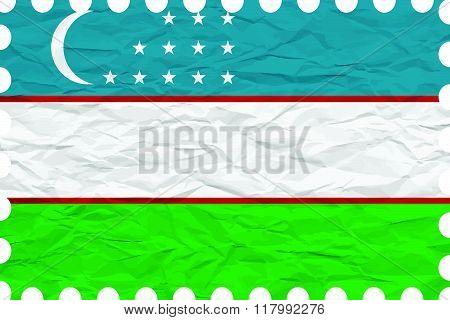 Wrinkled Paper Uzbekistan Stamp