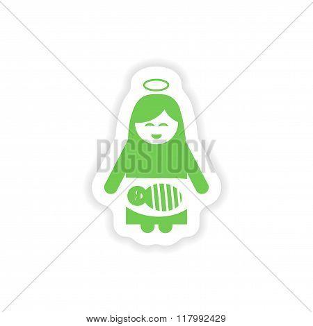 paper sticker on white background Virgin Mary and newborn Jesus
