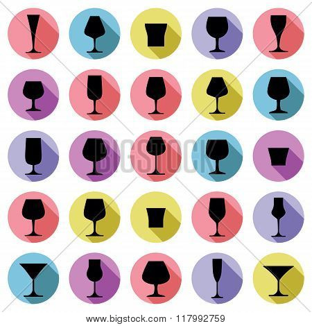Drinking Glasses Collection, Vector Martini, Wineglass, Cognac, Whiskey And Champagne. Alcohol Theme