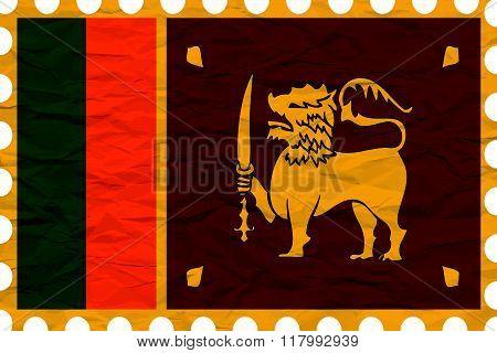 Wrinkled Paper Sri Lanka Stamp