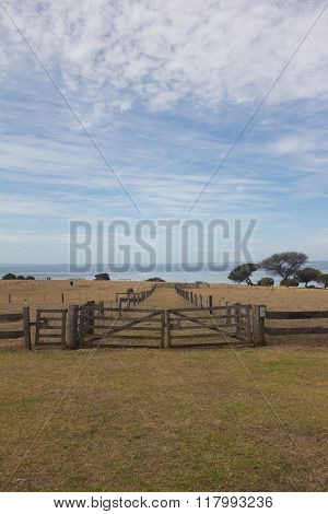 Wooden Fence And Gate In Farm