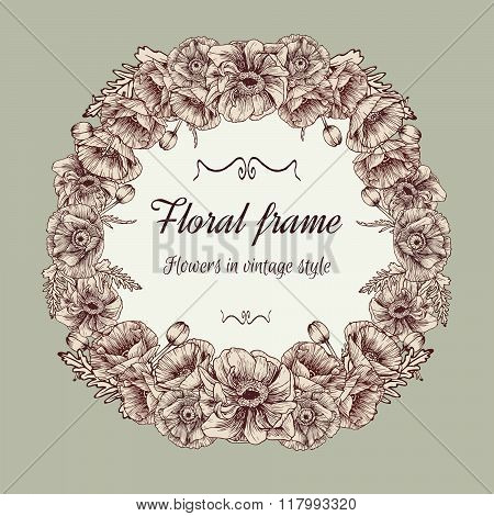Vector Floral wreath of poppies in vintage style.