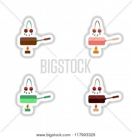 Set stylish paper stickers cherry chocolate fondue