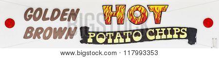 Golden Brown Hot Potato Chips sign