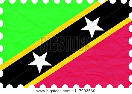 Wrinkled Paper Saint Kitts And Nevis Stamp