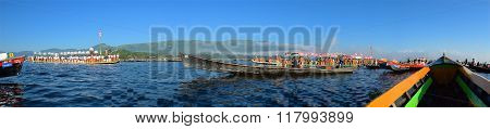 Inle Lake, Myanmar - October 2015: Pilgrims celebrating Pagoda Festival on Inle Lake, Myanmar