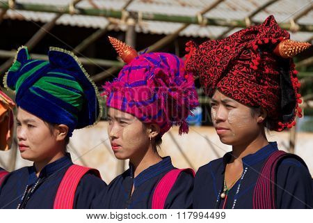 Inle Lake, Myanmar - October 2015:  Women displaying  their traditional head wraps in Inle Lake, Myanmar