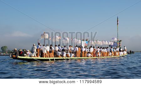 Inle Lake, Myanmar - October 2015; Pilgrims celebrating Pagoda Festival on Inle Lake, Myanmar