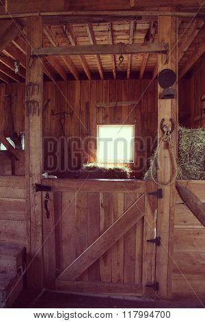 Barn horse stall with light from window - instagram effect